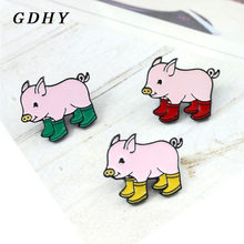 GDHY Cute Rain Boots Piglets Pig Brooches Cartoon Animal Brooch Pig Baby Enamel Pin Cloth Backpack Badge Child Jewelry Gifts(China)