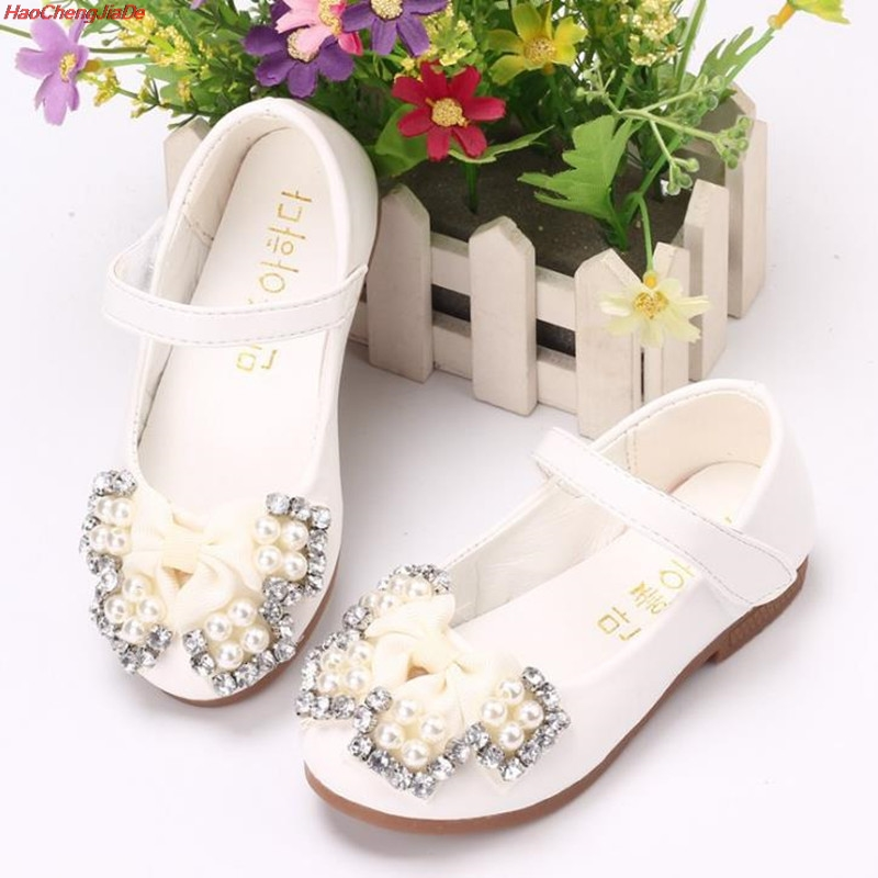 HaoChengJiaDe Pink Girls Shoes Lovely PU Leather Bow Flower Girl Wedding Fashion Child Girls Dress Shoes Princess Shoes For Kids