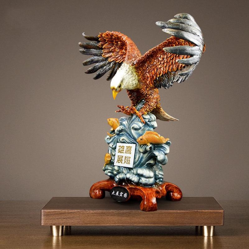 Moderne abstrait aigle Sculpture géométrique résine aigle Statue Animal sauvage décoration de la maison accessoires artisanat cadeaux d'affaires