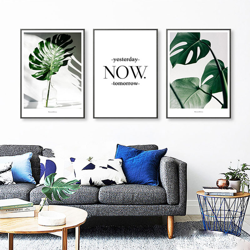 Nordic Style 1PC Modern Decorative Painting Living Room Wall Pictures Unframed Poster Art Posters Plant Leaf Canvas High Quality