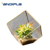 Nordic Style Table Vase Metal Geometric Bonsai Artificial Flower Plant Holder Creative Flower Vases Pot Office Decoration Crafts