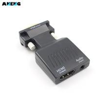 One Way vgaกับHDMI 1080จุดHD AVแปลงHDTVเสียงวิดีโอเคเบิ้ลอะแดปเตอร์สำหรับเครื่องคอมพิวเตอร์แล็ปท็อปคอมพิวเตอร์ดีวีดีSTBเกมคอนโซลตรวจสอบ