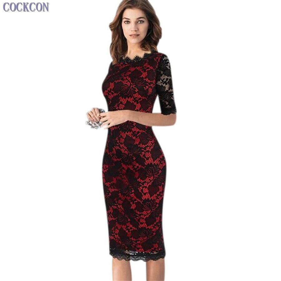 COCKCON High quality fancy lace pencil dresse bodycon ...