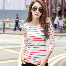 Camisas Femininas 2017 Tshirt Slash Neck Striped Winter Tops For Women T Shirt Casual T-Shirt Cotton Ropa Mujer Tee Shirt Femme casual scoop neck striped twisted t shirt for women