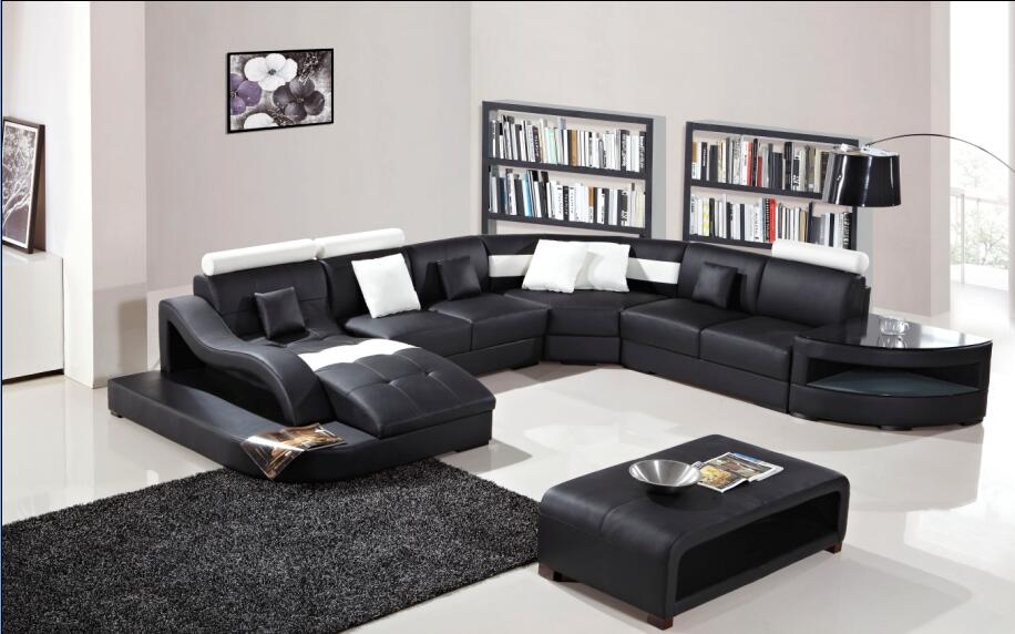 Modern Living Room Sofa sectional leather corner couch-in