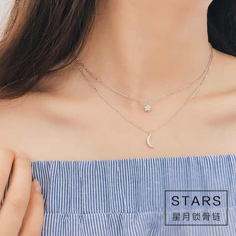 925 sterling silver long star moon choker necklaces pendant fashion sterling-silver-jewelry statement necklace for Women Kolye
