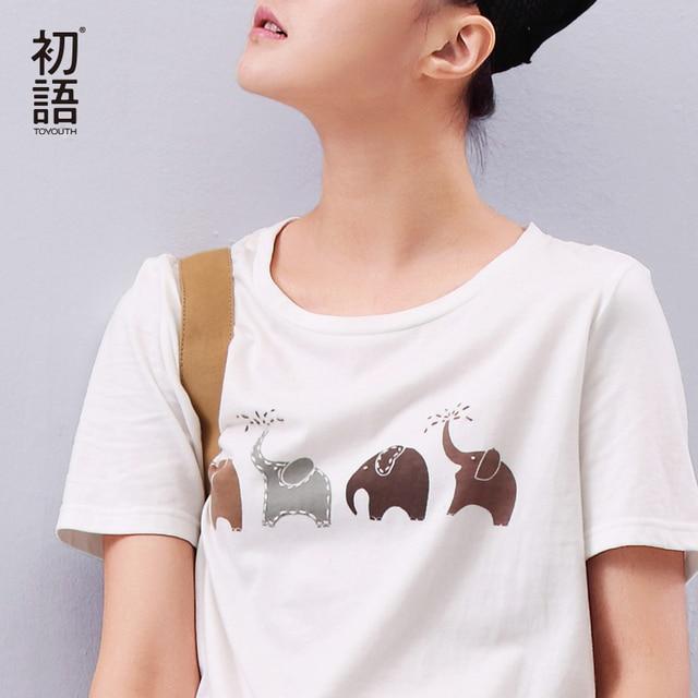 Toyouth Summer Women T shirt Elephant Animal Printed Loose Short sleeve Harajuku Style Casual T-shirt Girl Casual Tops