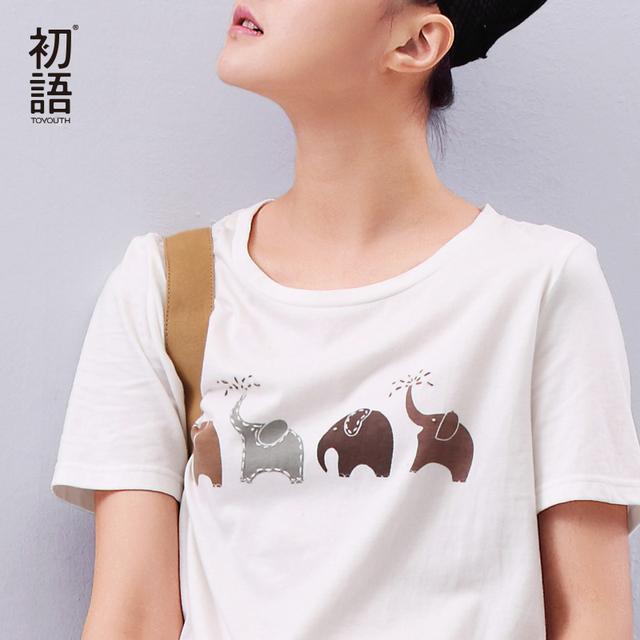 Toyouth verão mulheres t camisa animal elefante impresso solto manga curta harajuku estilo casual t-shirt da menina tops casuais