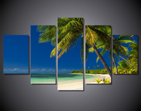 5 Piece Wall Art Canvas Painting Room Decor Print Picture Beach Ocean Coconut Tree And Prints Artwork Canvas Art Painting