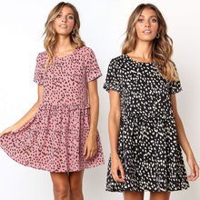 2019 summer hot new dress European and American fashion personality dot pleated lace loose sexy female printed beach
