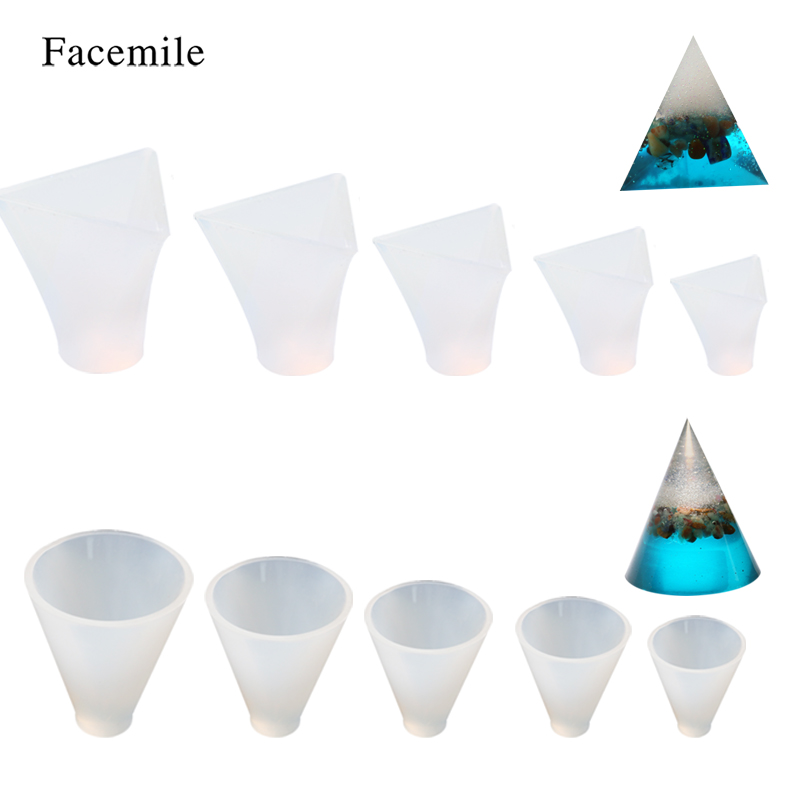 Facemile 14PCS/Set Jewelry Tools Silicone Resin Craft DIY Pyramid Cone Pattern Making Geometric Jewelry Pendant Tools Mold-in Cake Molds from Home & Garden    2