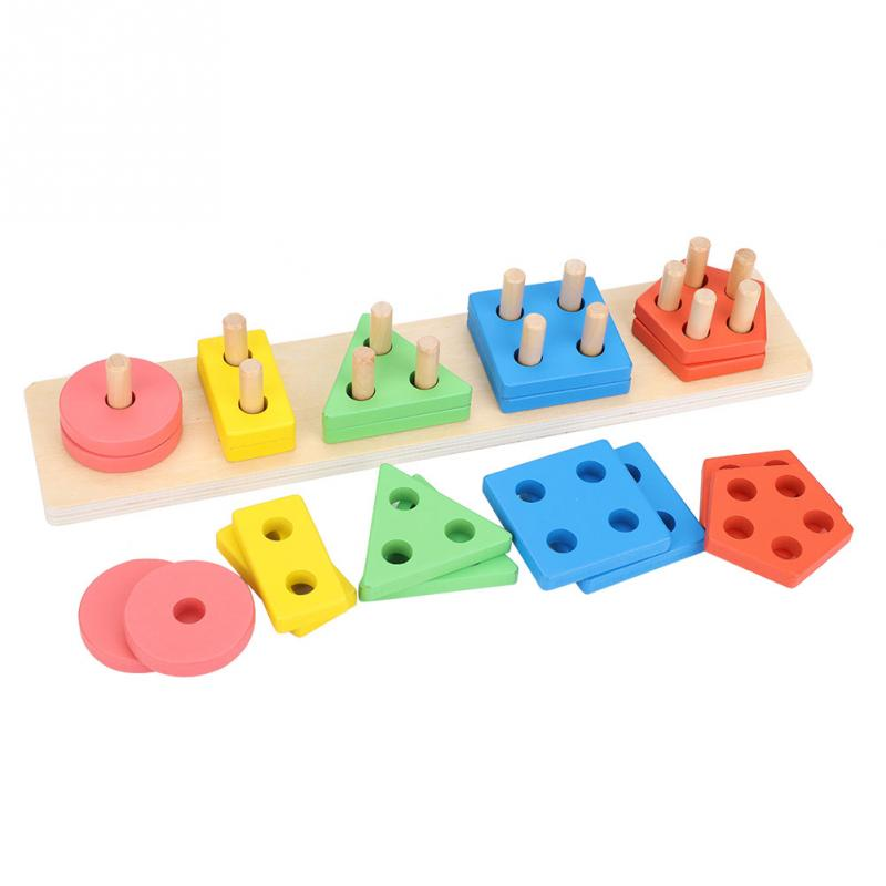 2018 hot Baby Kids Wooden Learning Puzzle Toys Colorful ...