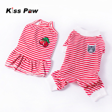 High Quality Lovers Dog Clothes Pajamas Jumpsuit Stripes Dress Cotton Soft Brand Pet For Chihuahua Yorkshire Terrier