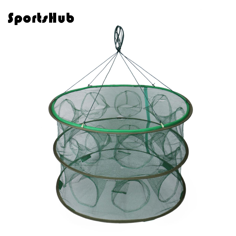 SPORTSHUB Portable Fishing Cages Collapsible Fishing Nets Network Casting Fishes Shrimp Crayfish Catcher Nets FT0012