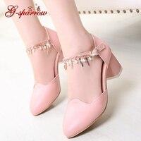 2017 Beaded Summer Sandals Blue Buckle Shoes Ladies Thick High Heels Pumpx Uk Beige Pink Free