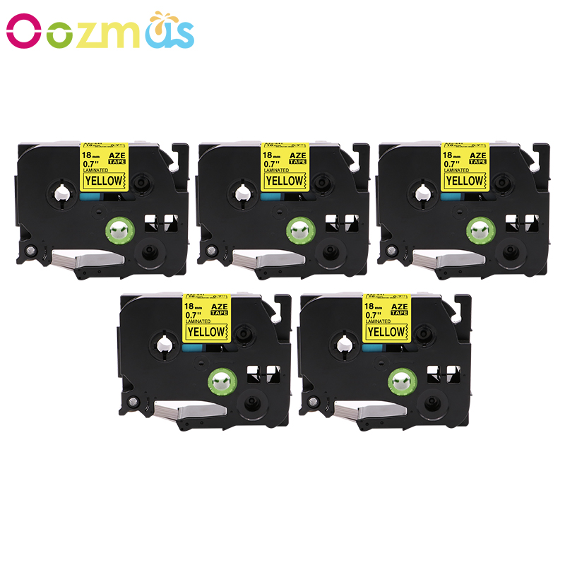 TZ-641 Label Tape Black on Yellow TZe-641 For Brother P-touch PT-D600 Print 18mm