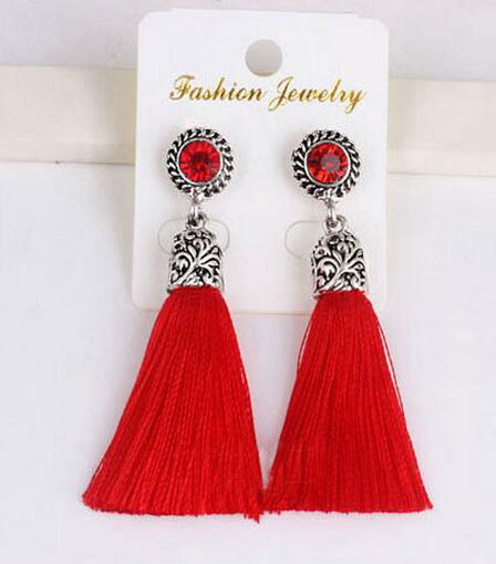 New Style Bohemian Ethnic Jewelry Lovely Sweet 4 Colors Crystal Thread Tel Earrings For Women