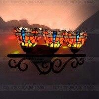 Красная стрекоза стекло Тиффани Арт настенный светильник Ретро три головы лампа бар ресторан зеркальная лампа для ванной