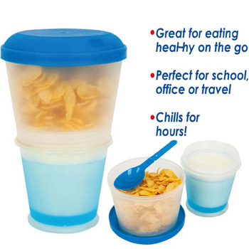Creative Breakfast Cup Oatmeal Cup Cereal To Go PP Material Snack Cup With Lid Foldable Spoon Food Container Keep Milk Cold