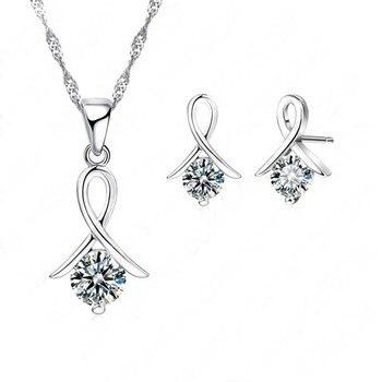 Women 925 Sterling Silver Fashion Necklace Earrings Jewelry Set For Wedding Party Cubic Zircon Cartilage Piercing Earrings 1
