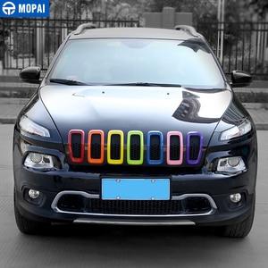 Image 2 - Accesorios de Exterior para coches MOPAI, cubierta de parrilla delantera de ABS 3D, pegatinas de marco de decoración para Jeep Cherokee 2014 Up