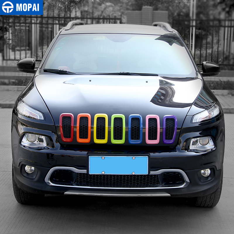Image 2 - MOPAI Car Exterior Accessories ABS 3D Front Insert Grill Cover Decoration Frame Stickers For Jeep Cherokee 2014 Up Car Styling-in Chromium Styling from Automobiles & Motorcycles