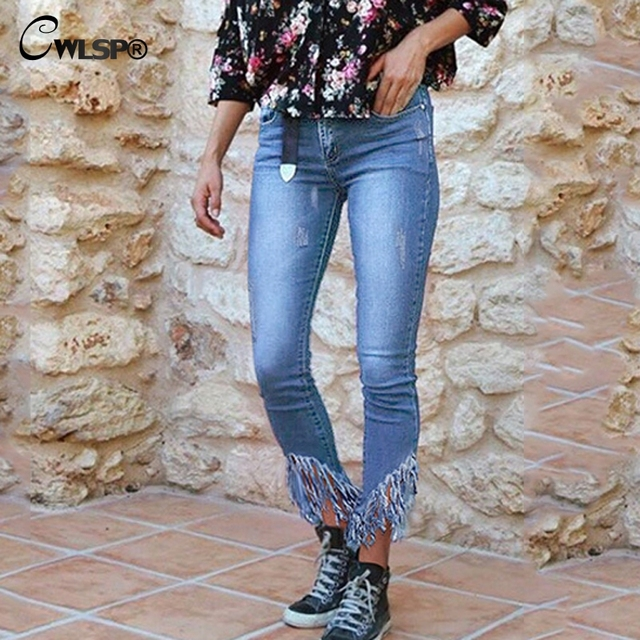 f791259a1d5 CWLSP Tassel Jeans Woman high waist Skinny Pencil Jeans irregular Casual  Plus size Pants Denim Fashion