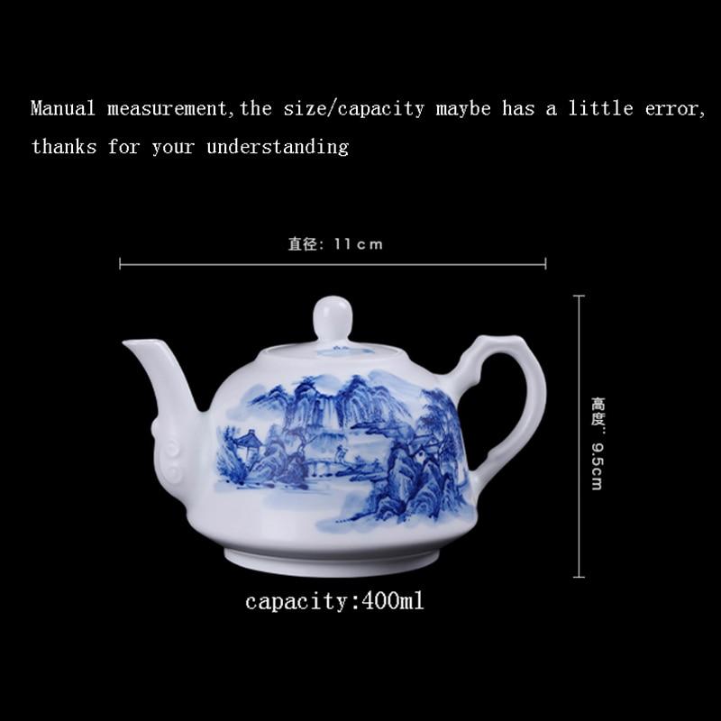 400ml Jingdezhen Large Capacity Ceramic Teapot Handmade Blue and White Porcelain Tea Pot Kung Fu Tea Set Puer Teaware Kettle - 2