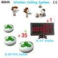 Sistema de Paginação remota K-4-C + K-H3-WG Para O Restaurante Com o Botão 3-tecla de Chamada E Receptor Exibição DHL Frete Grátis