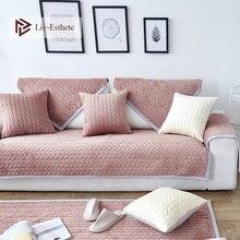 Liv-Esthete Luxury Velvet Decor Sofa Cover Euro Nordic Living Room Corner Single Double Sizes Combination Slipcovers