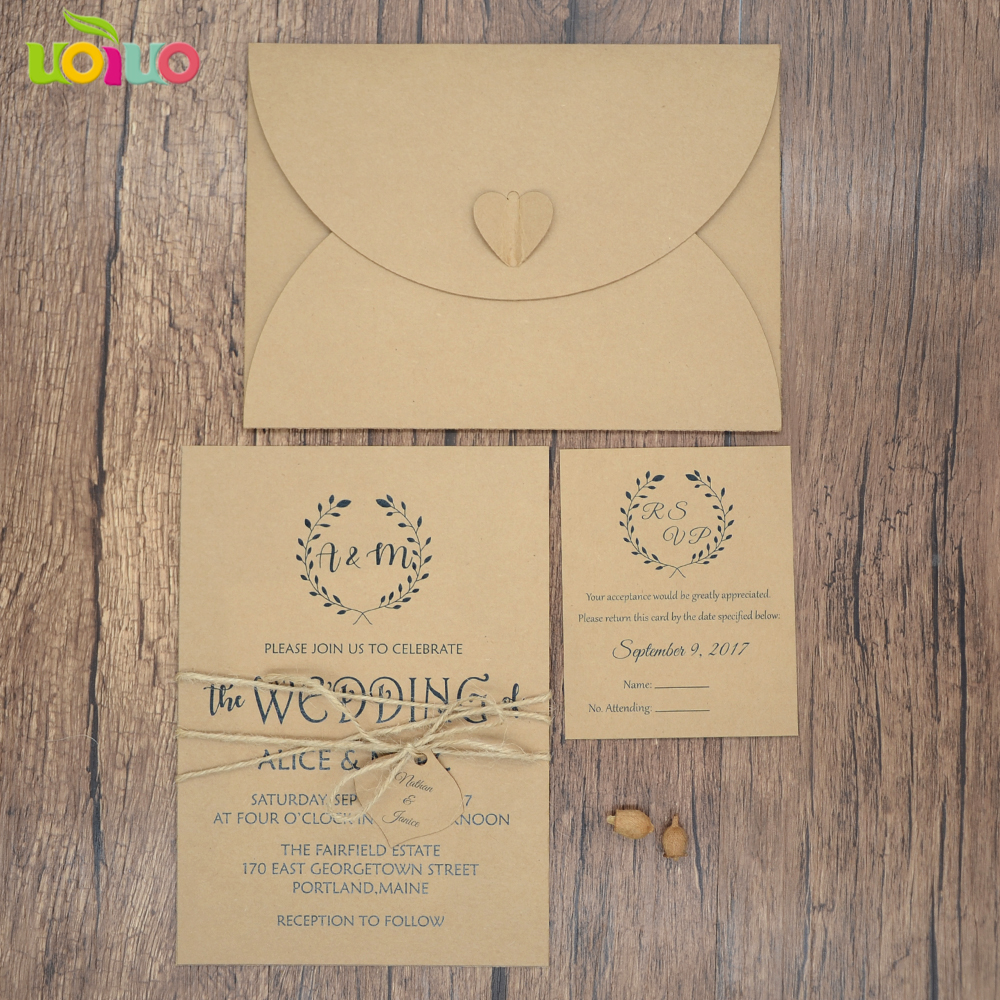 Aliexpress Com 2018 Weddings Supplier Laser Cut Wedding Card Models Kraft Paper Rustic Style Invitation Rsvp Envelop And Rope From