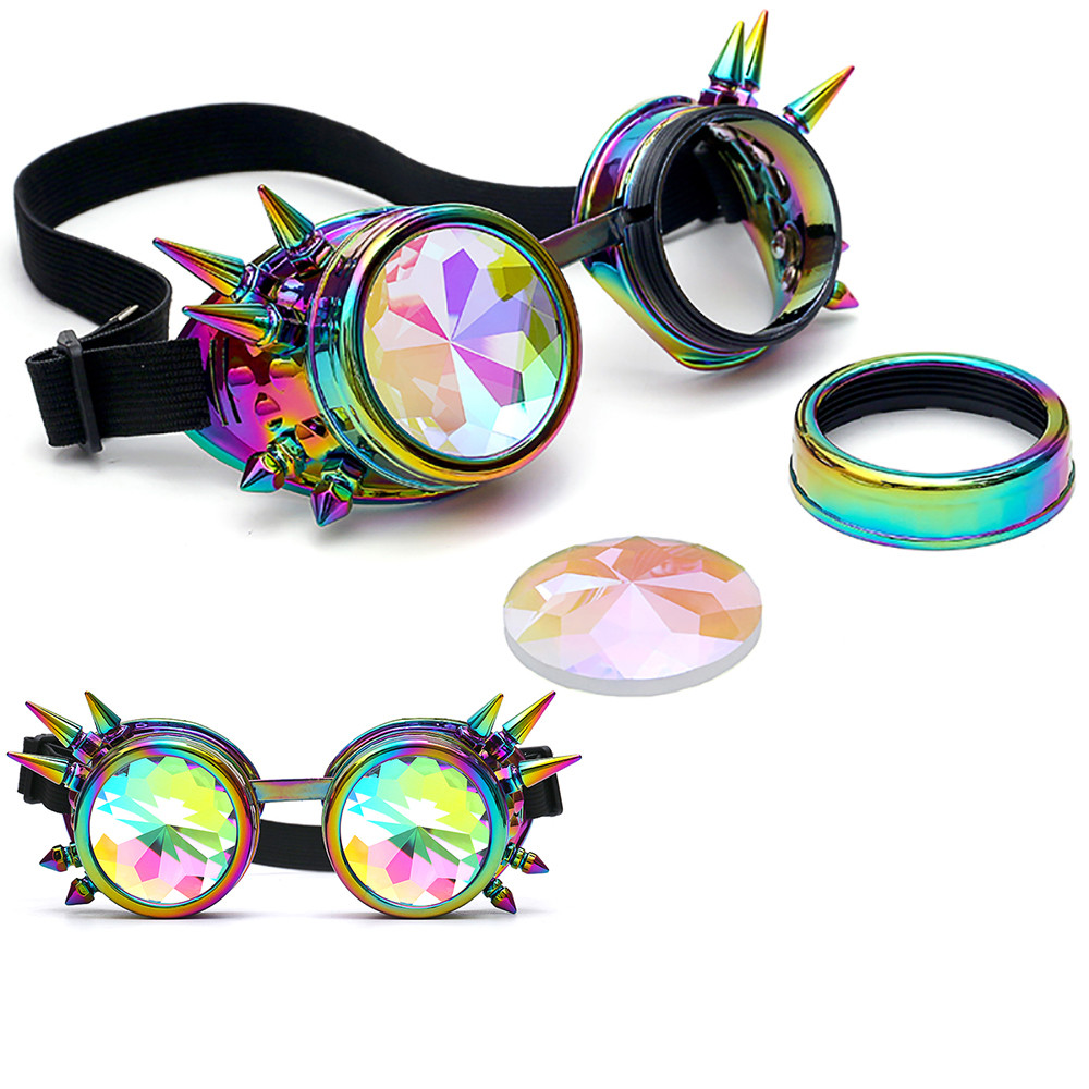 Kaleidoscope Colorful Glasses Rave Festival Party EDM Sunglasses Diffracted Lens Steampunk #G