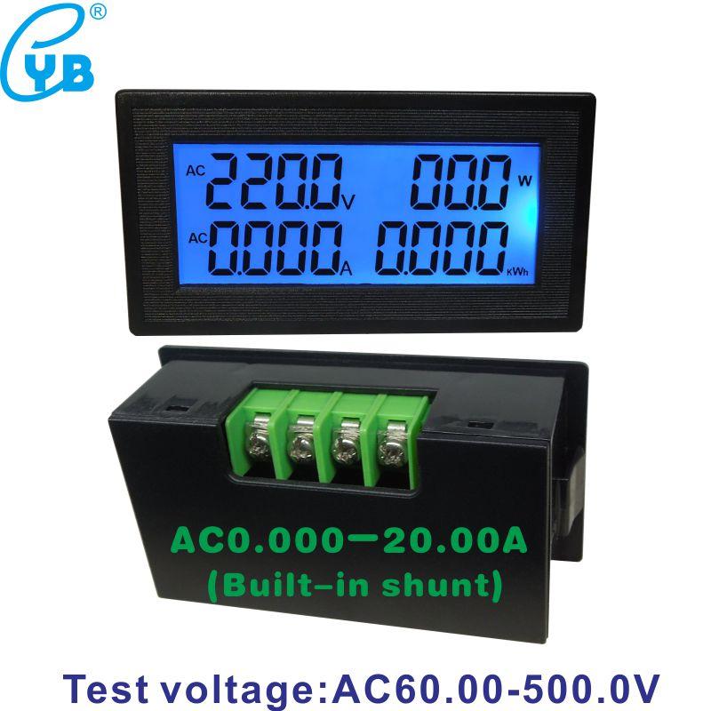 YB5140DM Voltmetro Amperometro Multifunzione 0 ~ 20 A 60 ~ 500 V Display LCD Con