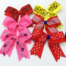 6PCS/SET 4 Girls 12 Colors  Large Ribbon Hair Bows With Clips Cheerleading Dance Cheer