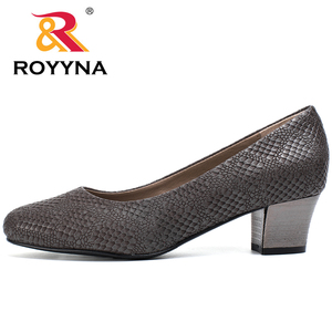 Image 3 - ROYYNA 2017 Popular Style Women Pumps Square Heels Ladies Shoes Serpentine Upper Material Women Shoes Shallow Women Casual Shoes