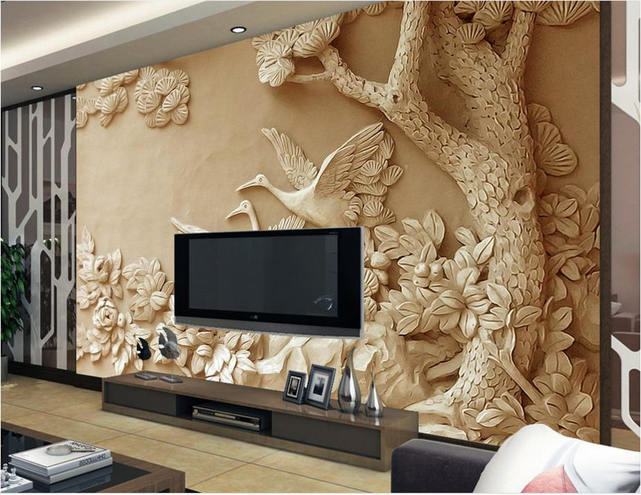 Customize 3d wall murals home decor relief tree 3d photo for Home wallpaper 0