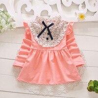 2016新しい赤ちゃんの女の子のドレスフライスリーブ女の子vestido用洗礼花パッチワーク幼児女の子服綿1y誕生日ドレス