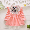 2016 new baby girl dresses fly sleeve girl vestido for christening flower patchwork infant girl clothes cotton 1Y birthday dress
