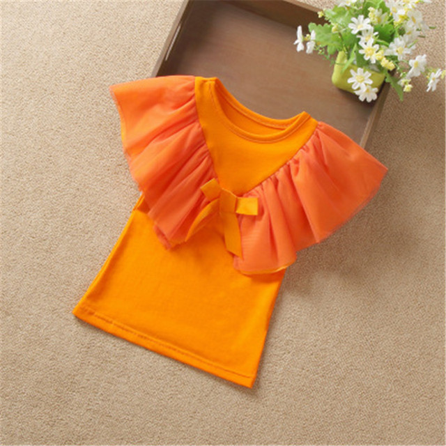 2019 Girls Blouse Kids Shirts Summer Short Sleeve White Ruffles School Girl Tops Baby Toddler Teen Children's Clothing AA3580