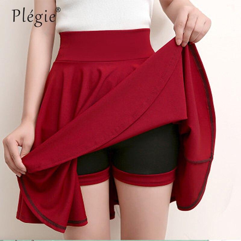 Plegie Plus Size 4XL Shorts Skirts Womens 2019 Summer A Line Sun School High Waist Pleated Skirt Female Korean Elegant Skirt