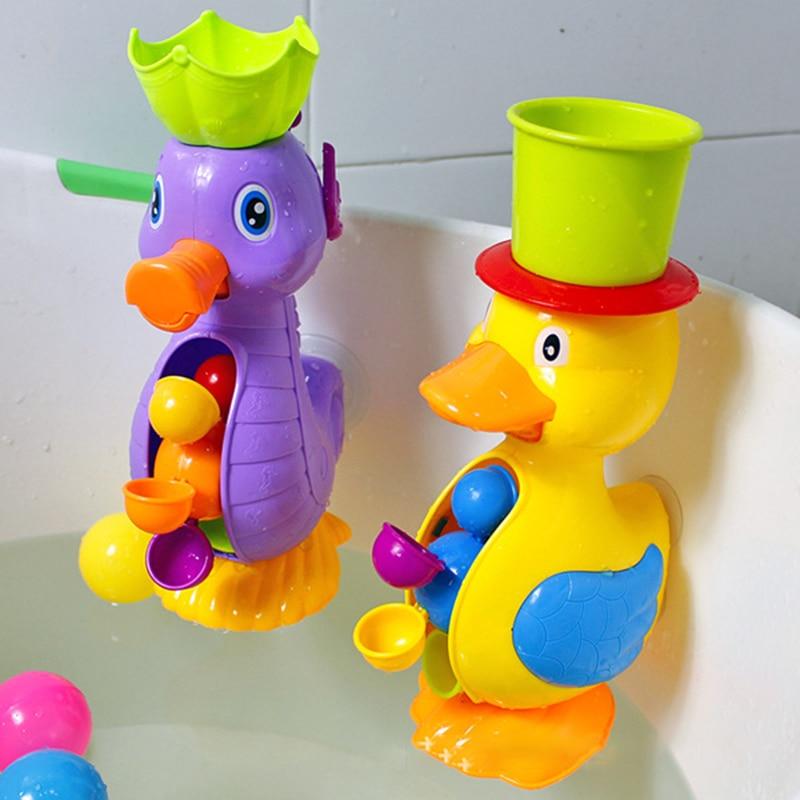 Jouets de bain de douche pour enfants mignon canard jaune roue à eau éléphant jouets bébé robinet outil de pulvérisation d'eau de bain Dabbling jouet livraison directe