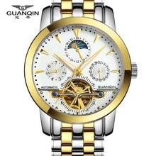 Гарантия 12 месяцев! GUANQIN Tourbillon часы роскошные мужчины механические часы сапфир Водонепроницаемый 100 м моды для мужчин часы часы