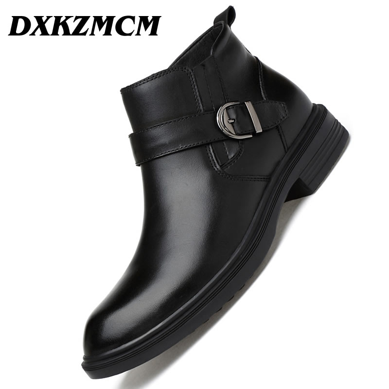 DXKZMCM Handmade Genuine Leather Men Boots Autumn Winter Warm Ankle Boots Fashion Footwear Shoes Snow Boots elevator shoes taller 2 56 inch winter genuine leather men boots fashion warm wool ankle boots men snow boots shoes hot sale