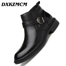 DXKZMCM Handmade Genuine Leather Men Boots Autumn Winter Warm Ankle Boots Fashion Footwear Shoes Snow Boots