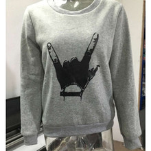 Women's casual European Autumn Clothing New Pattern Round Neck Long Sleeve Easy Rendering Hand Printing Increase Rong
