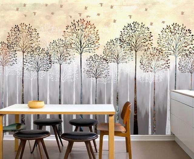 Benutzerdefinierte Kinder Tapete, Nostalgie Wald Vögel, 3D Cartoon  Wandbilder Für Wohnzimmer Kinderzimmer Hintergrund Wand