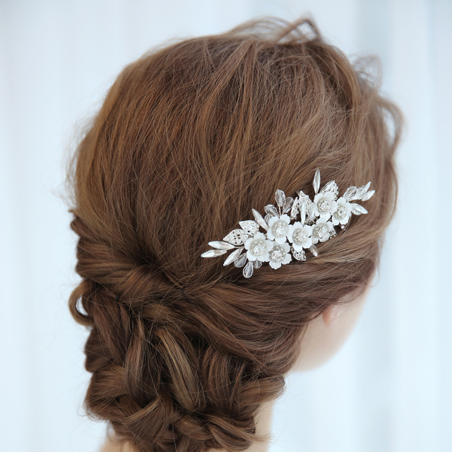 Silver Metal Flowers Elegant Bridal Hair Combs Wedding Hair