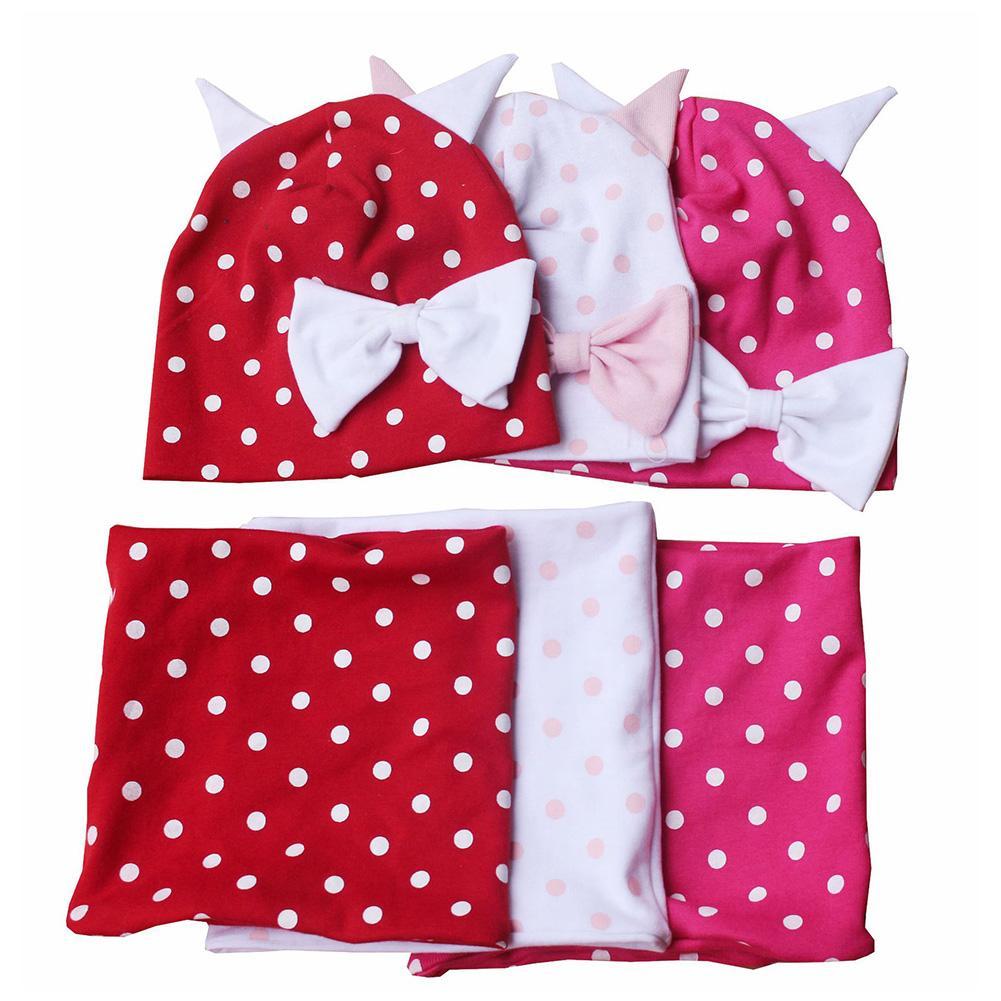Toddler Baby Boy Girl Cute Dots Print Ears Bowknot Beanie Cap O Ring Scarf Set