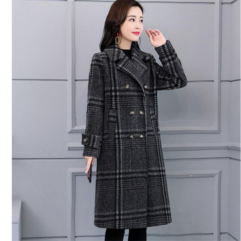 Frauen Elegante Winter Stil ntel Plaid Warme M 2018 B Koreanischen Wolle g7bfvYy6