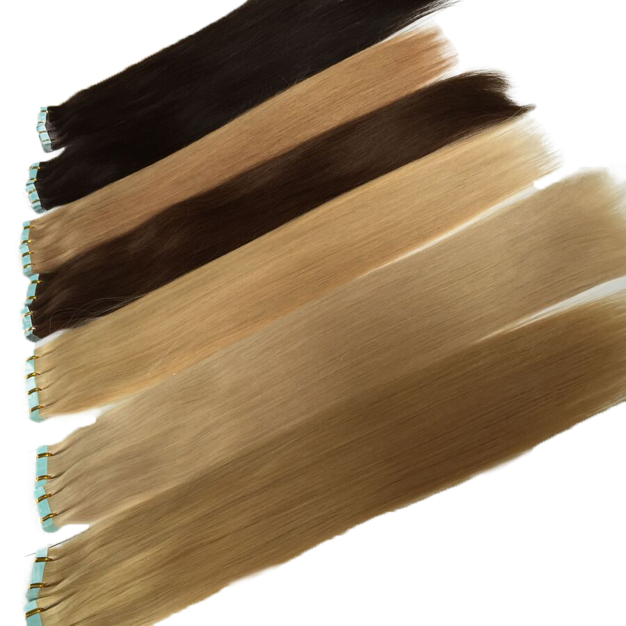 """Straight PU Skin Weft Hand Tied Tape In Adhesives 100% Brazilian Remy Human Hair Extensions 12-24"""" 40Pcs Double Drawn Hair(China)"""